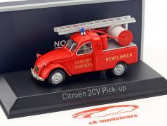 雪铁龙2CV接载消防部门,梯子建于1963年红色1:43 Norev