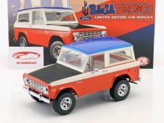 Ford Baja Bronco med aftagelig top Opførselsår 1971 rød / hvid / blå / sort 1:18 GMP