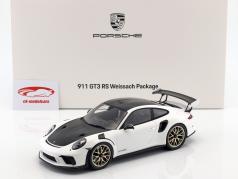 Porsche 911 (991 II) GT3 RS Weissach Package 2018 white with showcase 1:18 Spark