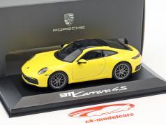 Porsche 911 (992) Carrera 4S coupe year 2019 racing yellow 1:43 Minichamps