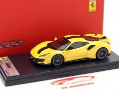 Ferrari 488 Pista Baujahr 2018 gelb / schwarz 1:43 LookSmart