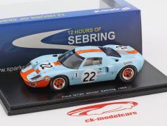 Ford GT40 #22 vencedor 12h Sebring 1969 Ickx, Oliver 1:43 Spark