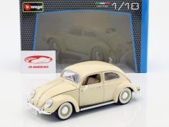 Volkswagen Beetle VW Beetle cremehvide Bj 1955 1:18 Bburago