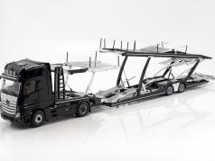 Mercedes-Benz Actros 2 1863 Gigaspace voiture transporteur année de construction 2018 noir 1:18 NZG
