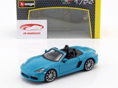 Porsche 718 (982) Boxster Bouwjaar 2016 blauw 1:24 Bburago
