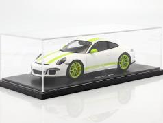 Porsche 911 (991) R ano 2016 branco / verde com mostruário 1:18 Spark