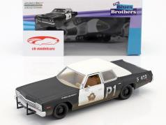 Dodge Monaco Bluesmobile Blues Brothers 1980 preto / branco 1:24 Greenlight