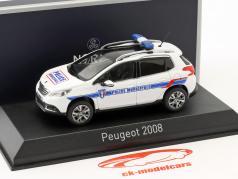 Peugeot 2008 Bouwjaar 2013 Police Municipale wit / blauw 1:43 Norev