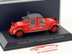 Citroen 2CV anno di costruzione 1961 Pompiers de Cogolin rosso 1:43 Norev
