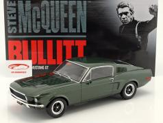 Ford Mustang GT Steve McQueen film Bullitt (1968) vert foncé 1:12 GT-Spirit