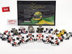 16-Car Set Ayrton Senna Racing Car Collection mit Zertifikat 1:43 Minichamps