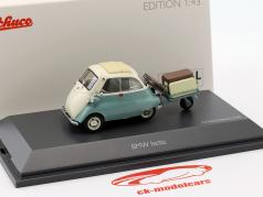 BMW Isetta with trailer and luggage Auto Porter turquoise / beige 1:43 Schuco