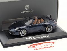 Porsche 911 (992) Carrera S cabriolé ano de construção 2019 noite azul metálico 1:43 Minichamps