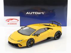 Lamborghini Huracan Performante Opførselsår 2017 perle gul 1:18 AUTOart