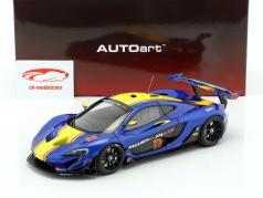 McLaren P1 GTR ano de construção 2015 azul metálico / amarelo 1:18 AUTOart