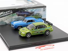2-Car セット Chevrolet Camaro と Mitsubishi Lancer Fast and Furious 1:43 Greenlight