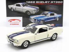 Shelby GT350 Supercharged Bouwjaar 1966 wit met blauw strepen 1:18 GMP