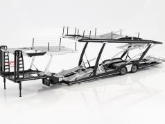 Lohr semitrailer car transporter for Mercedes-Benz Actros silver / black 1:18 NZG