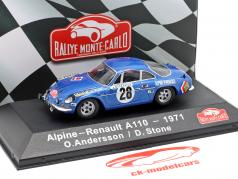 Alpine-Renault A1100 1600 #28 gagnant Rallye Monte Carlo 1971 Andersson, Stone 1:43 Atlas