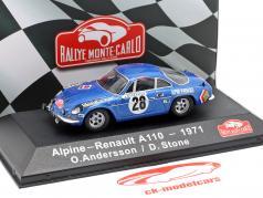 Alpine-Renault A1100 1600 #28 winnaar Rallye Monte Carlo 1971 Andersson, Stone 1:43 Atlas