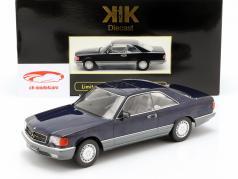 Mercedes-Benz 560 SEC C126 Bouwjaar 1985 blauw metalen 1:18 KK-Scale