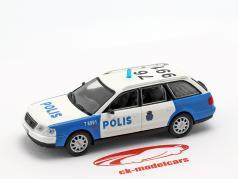 Audi A6 Avant polícia branco / azul em bolha 1:43 Altaya