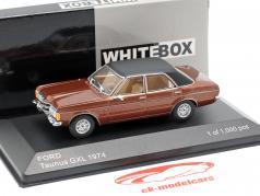 Ford Taunus GXL ano de construção 1974 marrom metálico / preto 1:43 WhiteBox