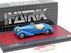 Bugatti Type 57 S Corsica Roadster M. Campbell ayudado abierto salvapantallas año de construcción 1937 azul 1:43 Matrix
