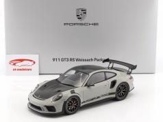 Porsche 911 (991 II) GT3 RS Weissach Package giz cinza / preto com mostruário 1:18 Spark 2. eleição