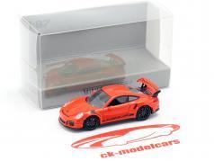 Porsche 911 (991) GT3 RS Bouwjaar 2013 lava oranje / zwart 1:87 Minichamps
