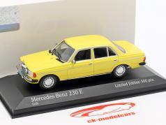 Mercedes-Benz 230 E (W123) Opførselsår 1982 gul 1:43 Minichamps