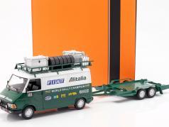 Fiat 242 met aanhangwagen Fiat Alitalia Rallye team bijstand Bouwjaar 1979 1:18 Ixo