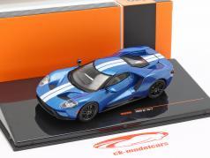 Ford GT Bouwjaar 2017 blauw / wit 1:43 Ixo