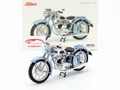 Horex Regina motocicleta com único assento azul claro metálico 1:10 Schuco