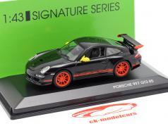 Porsche 911 (997) GT3 RS jaar 2007 zwart / oranje 1:43 Lucky Diecast