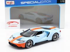 Ford GT Gulf ano de construção 2017 azul claro / laranja 1:18 Maisto