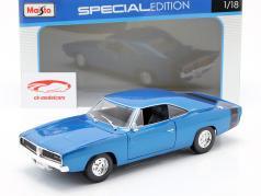 Dodge Charger R/T ano de construção 1969 azul metálico 1:18 Maisto