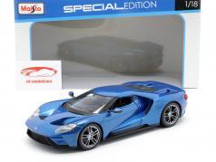 Ford GT ano de construção 2017 azul metálico 1:18 Maisto