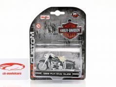 Harley-Davidson FLH Duo Glide Bouwjaar 1962 zwart / wit / chroom 1:24 Maisto