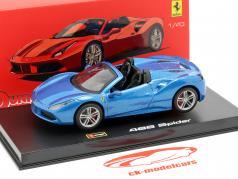 Ferrari 488 Spider année de construction 2015 bleu métallique 1:43 Bburago