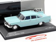 Plymouth Savoy sedán año de construcción 1959 azul claro 1:43 WhiteBox