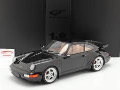 Porsche 911 (964) 3.6 Turbo Coupe año de construcción 1991 negro con escaparate 1:8 GT-Spirit