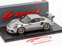 Porsche 911 (991 II) GT3 RS Opførselsår 2018 sølv metallisk 1:43 Spark
