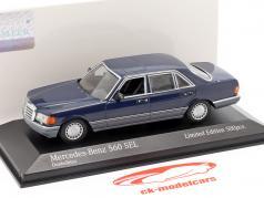 Mercedes-Benz 560 SEL (V126) Opførselsår 1990 mørkeblå 1:43 Minichamps