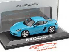 Porsche 718 Cayman S ano de construção 2016 Miami azul 1:43 Minichamps