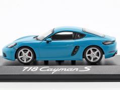 Porsche 718 Cayman S Bouwjaar 2016 Miami blauw 1:43 Minichamps