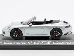 Porsche 911 (991 II) Carrera 4 GTS Cabriolet rhodium zilver metalen 1:43 Herpa