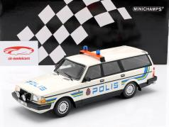 Volvo 240 GL Break polícia Suécia ano de construção 1986 branco 1:18 Minichamps