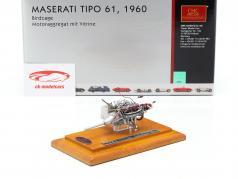 玛莎拉蒂Tipo 61鸟笼发动机模型1960年 + 展示台 1:18 CMC