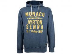 Ayrton Senna sudadera con capucha primero victoria Monaco GP fórmula 1 1987 azul / amarillo